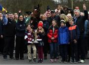 7 April 2019; Children of Michael O'Leary, Zack and Tianna O'Leary lead the way with the cup as the winner of the 2019 Randox Health Aintree Grand National Tiger Roll is led through the village of Summerhill in County Meath by grooms Karen Morgan, left, and Louise Dunne with trainer Gordon Elliott, left, and owner Michael O'Leary, right. Photo by Harry Murphy/Sportsfile