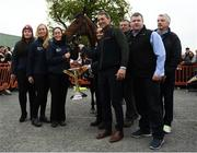 7 April 2019; The winner of the 2019 Randox Health Aintree Grand National Tiger Roll outside Shaw's pub in the village of Summerhill in County Meath with grooms Karen Morgan, left, and Louise Dunne, jockey Davy Russell, trainer Gordon Elliott, and owner Michael O'Leary. Photo by Harry Murphy/Sportsfile