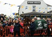 7 April 2019; The winner of the 2019 Randox Health Aintree Grand National Tiger Roll outside Shaw's pub in the village of Summerhill in County Meath with grooms Karen Morgan, left, and Louise Dunne. Photo by Harry Murphy/Sportsfile
