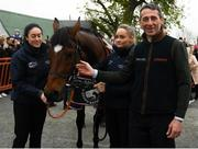 7 April 2019; The winner of the 2019 Randox Health Aintree Grand National Tiger Roll outside Shaw's pub in the village of Summerhill in County Meath with grooms Karen Morgan, left, and Louise Dunne and jockey Davy Russell. Photo by Harry Murphy/Sportsfile