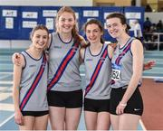 6 April 2019; The Dundrum South Dublin AC team who finished third in the girls under-19 4x200m relay, from left, Amelia Rodgers, Molly Hourihan, Charlotte Bourke and Betia Sweeney during Day 3 of the Irish Life Health National Juvenile Indoor Championships at AIT in Athlone, Co Westmeath. Photo by Matt Browne/Sportsfile