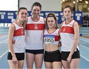 6 April 2019; The Galway City Harriers AC team that finished second in the girls under-19 4x200m relay, from left, Rachael Hughes, Chloe Casey, Seren O'Toole and Miriam Greene during Day 3 of the Irish Life Health National Juvenile Indoor Championships at AIT in Athlone, Co Westmeath. Photo by Matt Browne/Sportsfile