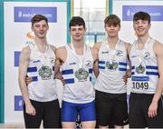 6 April 2019; The Celbridge AC team that finished second in the boys under-19 4x200m relay, from left, Eoghan McGrath, Eoin O'Sullivan, Shane Kennedy and John Grant during Day 3 of the Irish Life Health National Juvenile Indoor Championships at AIT in Athlone, Co Westmeath. Photo by Matt Browne/Sportsfile