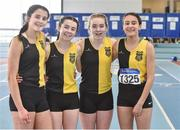 6 April 2019; The Kilkenny City Harriers AC team who finished second in the girls under-15 4x200m relay, from left, Ella Delahunty, Abbie O'Brien, Orla Kenny and Amelie Foley during Day 3 of the Irish Life Health National Juvenile Indoor Championships at AIT in Athlone, Co Westmeath. Photo by Matt Browne/Sportsfile