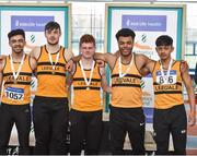 6 April 2019; The Leevale AC team, from Cork, that won the boys under-19 4x200m relay, from left, Mark Jones, Conor Morey, Robert Towmey, Ryan O'Leary and Wymin Sivakumar during Day 3 of the Irish Life Health National Juvenile Indoor Championships at AIT in Athlone, Co Westmeath. Photo by Matt Browne/Sportsfile