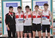 6 April 2019; Galway City Harriers AC team who finished second in the under-17 boys 4x200m relay event, from left, Robert Urquhart, Shaun Gilligan, Neill Breathnach, Andrew Egan and Conor Hoade during Day 3 of the Irish Life Health National Juvenile Indoor Championships at AIT in Athlone, Co Westmeath. Photo by Matt Browne/Sportsfile