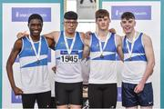6 April 2019; St. Laurance OToole AC team, from Carlow, who finished third in the under-17 boys 4x200m relay event, from left, Jeremiah Duru, Nurlan Kennedy, Stefan Hillebrand and Tadgh Walsh during Day 3 of the Irish Life Health National Juvenile Indoor Championships at AIT in Athlone, Co Westmeath. Photo by Matt Browne/Sportsfile