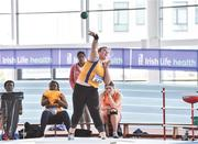 6 April 2019; Aoibhinn McMahon of Blackrock AC, Louth, who came second in the girls under-17 shot put during Day 3 of the Irish Life Health National Juvenile Indoor Championships at AIT in Athlone, Co Westmeath. Photo by Matt Browne/Sportsfile