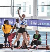 6 April 2019; Ciara Moore of Laurence O'Toole's AC, Carlow, who came third in the girls under-17 shot put during Day 3 of the Irish Life Health National Juvenile Indoor Championships at AIT in Athlone, Co Westmeath. Photo by Matt Browne/Sportsfile