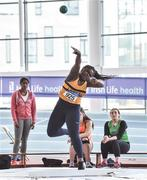 6 April 2019; Holly Umeh of Leevale AC, Cork, competes in the girls under-17 shot put at Day 3 of the Irish Life Health National Juvenile Indoor Championships at AIT in Athlone, Co Westmeath. Photo by Matt Browne/Sportsfile