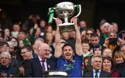 31 March 2019; David Drake of Mayo lifts the cup following the Allianz Football League Division 1 Final match between Kerry and Mayo at Croke Park in Dublin. Photo by Stephen McCarthy/Sportsfile