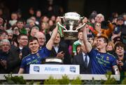 31 March 2019; Michael Plunkett, left, and Stephen Coen of Mayo lift the cup following the Allianz Football League Division 1 Final match between Kerry and Mayo at Croke Park in Dublin. Photo by Stephen McCarthy/Sportsfile