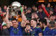 31 March 2019; Lee Keegan of Mayo lifts the cup following the Allianz Football League Division 1 Final match between Kerry and Mayo at Croke Park in Dublin. Photo by Stephen McCarthy/Sportsfile