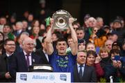 31 March 2019; James McCormack of Mayo lifts the cup following the Allianz Football League Division 1 Final match between Kerry and Mayo at Croke Park in Dublin. Photo by Stephen McCarthy/Sportsfile