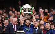 31 March 2019; Kevin McLoughlin of Mayo lifts the cup following the Allianz Football League Division 1 Final match between Kerry and Mayo at Croke Park in Dublin. Photo by Stephen McCarthy/Sportsfile