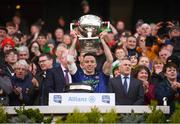 31 March 2019; Evan Regan of Mayo lifts the cup following the Allianz Football League Division 1 Final match between Kerry and Mayo at Croke Park in Dublin. Photo by Stephen McCarthy/Sportsfile