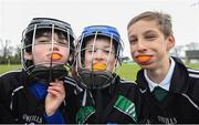 "8 April 2019; Peadar Seamus Ó Mathúna, left, Ruairí Ó Neill and Charlie Geraghty, all age 9, from Gaelscoil an Bhradáin Feasa, at the unveiling of the new GAA manifesto in both Irish and English at St Colmcilles GAA Club in Bettystown, Co Meath. The manifesto is an affirmation of the GAA's mission, vision and values, and a celebration of all the people who make the Association what it is. The intention is for the manifesto to be proudly displayed across the GAA network and wherever Gaelic Games are played at home and abroad"". It marks the start of a wider support message that celebrates belonging to the GAA, which is centered around the statement: 'GAA – Where We All Belong' / CLG – Tá Áit Duinn Uilig'. Photo by Stephen McCarthy/Sportsfile"