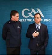 "8 April 2019; Keith Loughman, Chairman of St Colmcilles GAA Club, with Ard Stiúrthóir of the GAA Tom Ryan, left, at the unveiling of the new GAA manifesto in both Irish and English at St Colmcilles GAA Club in Bettystown, Co Meath. The manifesto is an affirmation of the GAA's mission, vision and values, and a celebration of all the people who make the Association what it is. The intention is for the manifesto to be proudly displayed across the GAA network and wherever Gaelic Games are played at home and abroad"". It marks the start of a wider support message that celebrates belonging to the GAA, which is centered around the statement: 'GAA – Where We All Belong' / CLG – Tá Áit Duinn Uilig'. Photo by Stephen McCarthy/Sportsfile"
