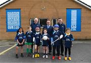 "8 April 2019; Uachtarán Chumann Lúthchleas Gael John Horan, left, Keith Loughman, Chairman of St Colmcilles GAA Club, and Ard Stiúrthóir of the GAA Tom Ryan, right, with members of St Colmcilles GAA Club, from left, Reva Mehta, age 8, Noah Noone Garland, age 9, Niall O'Donoghue, age 9, Aisling Gillick, age 8, Jack O'Byrne, age 10, and Milena Maza, age 8, at the unveiling of the new GAA manifesto in both Irish and English at St Colmcilles GAA Club in Bettystown, Co Meath. The manifesto is an affirmation of the GAA's mission, vision and values, and a celebration of all the people who make the Association what it is. The intention is for the manifesto to be proudly displayed across the GAA network and wherever Gaelic Games are played at home and abroad"". It marks the start of a wider support message that celebrates belonging to the GAA, which is centered around the statement: 'GAA – Where We All Belong' / CLG – Tá Áit Duinn Uilig'. Photo by Stephen McCarthy/Sportsfile"