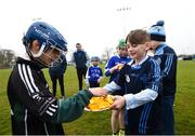 "8 April 2019; Juvenile players at St Colmcilles GAA Club prior to the unveiling of the new GAA manifesto in both Irish and English at St Colmcilles GAA Club in Bettystown, Co Meath. The manifesto is an affirmation of the GAA's mission, vision and values, and a celebration of all the people who make the Association what it is. The intention is for the manifesto to be proudly displayed across the GAA network and wherever Gaelic Games are played at home and abroad"". It marks the start of a wider support message that celebrates belonging to the GAA, which is centered around the statement: 'GAA – Where We All Belong' / CLG – Tá Áit Duinn Uilig'. Photo by Stephen McCarthy/Sportsfile"