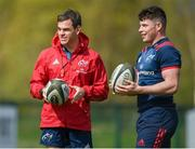 8 April 2019; Munster head coach Johann van Graan and Calvin Nash during Munster Rugby Squad Training at the University of Limerick in Limerick. Photo by Harry Murphy/Sportsfile