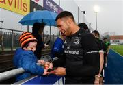 8 April 2019; Adam Byrne during a signing session for Leinster Rugby season ticket holders at Energia Park in Donnybrook, Dublin. Photo by Ramsey Cardy/Sportsfile