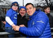 8 April 2019; 7 year old Fionn Duffy, and father Kieran, from Waterford city, with Noel Reid during a signing session for Leinster Rugby season ticket holders at Energia Park in Donnybrook, Dublin. Photo by Ramsey Cardy/Sportsfile