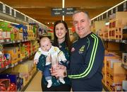9 April 2019; The Lidl / Irish Daily Star Manager of the Month for March was announced today as Eamonn Murray from Meath. Under Eamonn's guidance, Meath have progressed to the Division 3 semi-finals in the 2019 Lidl Ladies National Football League. Meath won six out of their seven group fixtures and they claimed victories in all three of their games in March, against Longford, Kildare and Wicklow. Pictured is Eamonn Murray with his daughter Eimear Jackson and grandson, Caolan Jackson, aged four months, at the Lidl Store in Dunshaughlin, Co. Meath. Photo by Harry Murphy/Sportsfile
