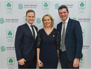 9 April 2019; The Olympic Federation of Ireland has signed an agreement with officials from the city of Fukuroi for Team Ireland's Tokyo 2020 pre games training camp.   The OFI also announced that it has appointed Finnish company, Elämys Group, as its Authorised Ticket Reseller (ATR) for the Tokyo 2020 Games following a rigorous selection process. Pictured at the announcement is Elämys Group CEO Jussi Viskari, Olympic Federation of Ireland President Sarah Keane and Olympic Federation of Ireland CEO Peter Sherrard. Photo by Ramsey Cardy/Sportsfile