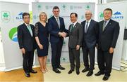 9 April 2019; The Olympic Federation of Ireland has signed an agreement with officials from the city of Fukuroi for Team Ireland's Tokyo 2020 pre games training camp.   The OFI also announced that it has appointed Finnish company, Elämys Group, as its Authorised Ticket Reseller (ATR) for the Tokyo 2020 Games following a rigorous selection process. Pictured at the announcement is Tokyo 2020 delegates with Olympic Federation of Ireland President Sarah Keane, Olympic Federation of Ireland CEO Peter Sherrard, Mayor of Fukuroi City, Hideyuki Harada and Sport Ireland CEO John Treacy. Photo by Ramsey Cardy/Sportsfile
