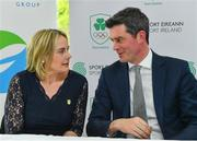 9 April 2019; The Olympic Federation of Ireland has signed an agreement with officials from the city of Fukuroi for Team Ireland's Tokyo 2020 pre games training camp.   The OFI also announced that it has appointed Finnish company, Elämys Group, as its Authorised Ticket Reseller (ATR) for the Tokyo 2020 Games following a rigorous selection process. Pictured at the announcement is Olympic Federation of Ireland President Sarah Keane and Olympic Federation of Ireland CEO Peter Sherrard. Photo by Ramsey Cardy/Sportsfile