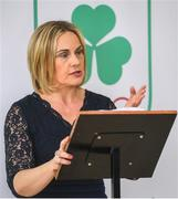 9 April 2019; The Olympic Federation of Ireland has signed an agreement with officials from the city of Fukuroi for Team Ireland's Tokyo 2020 pre games training camp.   The OFI also announced that it has appointed Finnish company, Elämys Group, as its Authorised Ticket Reseller (ATR) for the Tokyo 2020 Games following a rigorous selection process. Pictured at the announcement is Olympic Federation of Ireland President Sarah Keane. Photo by Ramsey Cardy/Sportsfile