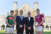 10 April 2019; Attendees, from left, Daniel Huane, Mayo hurler, Paul Flynn, GPA CEO, NUI Galway Professor John McHale, and Cein Darcy, Galway footballer, at the launch of NUI Galway Scholarships with GPA and WGPA at NUI Galway in Galway. Photo by Piaras Ó Mídheach/Sportsfile