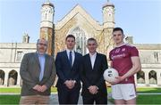 10 April 2019; Attendees, from left, Enda Fallon, Chairman of NUI Galway men's gaelic football club, Paul Flynn, GPA CEO, NUI Galway Professor John McHale, and Cein Darcy, Galway footballer, at the launch of NUI Galway Scholarships with GPA and WGPA at NUI Galway in Galway. Photo by Piaras Ó Mídheach/Sportsfile