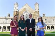10 April 2019; Attendees, from left, Lorraine Ryan, Galway camogie player, Maria Kinsella, WGPA Chair, NUI Galway Professor John McHale, and Róisín Wynne, Roscommon ladies footballer, at the launch of NUI Galway Scholarships with GPA and WGPA at NUI Galway in Galway. Photo by Piaras Ó Mídheach/Sportsfile