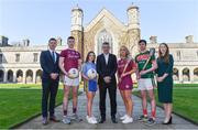 10 April 2019; Attendees, from left, Paul Flynn, GPA CEO, Cein Darcy, Galway footballer, Róisín Wynne, Roscommon ladies footballer, John McHale, Professor of Economics and Dean of the College of Business, Public Policy, and Law, at NUI Galway, Lorraine Ryan, Galway camogie player, Daniel Huane, Mayo hurler, and Maria Kinsella, WGPA Chair, at the launch of NUI Galway Scholarships with GPA and WGPA at NUI Galway in Galway. Photo by Piaras Ó Mídheach/Sportsfile