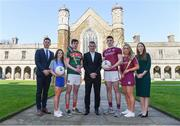 10 April 2019; Attendees, from left, Paul Flynn, GPA CEO, Róisín Wynne, Roscommon ladies footballer, Daniel Huane, Mayo hurler, John McHale, Professor of Economics and Dean of the College of Business, Public Policy, and Law, at NUI Galway, Cein Darcy, Galway footballer, Lorraine Ryan, Galway camogie player, and Maria Kinsella, WGPA Chair, at the launch of NUI Galway Scholarships with GPA and WGPA at NUI Galway in Galway. Photo by Piaras Ó Mídheach/Sportsfile