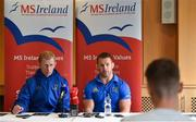 12 April 2019; MS Ireland are a charity partner of Leinster Rugby and as part of their partnership they will have a match day take-over at the RDS Arena tomorrow. Ahead of the game Leo Cullen and Seán O'Brien visited staff and patients at the MS Ireland Care Centre in Dublin. Pictured is Leinster head coach Leo Cullen, left, and Seán O'Brien. Photo by Ramsey Cardy/Sportsfile