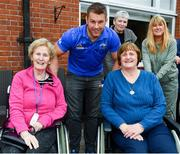 12 April 2019; MS Ireland are a charity partner of Leinster Rugby and as part of their partnership they will have a match day take-over at the RDS Arena tomorrow. Ahead of the game Leo Cullen and Seán O'Brien visited staff and patients at the MS Ireland Care Centre in Dublin. Pictured is Sean O'Brien with Jean Breen, left, and Therese Mooney. Photo by Ramsey Cardy/Sportsfile