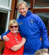 12 April 2019; MS Ireland are a charity partner of Leinster Rugby and as part of their partnership they will have a match day take-over at the RDS Arena tomorrow. Ahead of the game Leo Cullen and Seán O'Brien visited staff and patients at the MS Ireland Care Centre in Dublin. Pictured is Breda Maguire with head coach Leo Cullen. Photo by Ramsey Cardy/Sportsfile