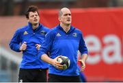 12 April 2019; Devin Toner, right, and Jack Dunne during the Leinster Rugby captain's run at the RDS Arena in Dublin. Photo by Ramsey Cardy/Sportsfile