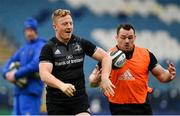 12 April 2019; James Tracy, left, and Cian Healy during the Leinster Rugby captain's run at the RDS Arena in Dublin. Photo by Ramsey Cardy/Sportsfile