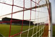 12 April 2019; A detailed view of the goal netting in The Showgrounds ahead of the SSE Airtricity League Premier Division match between Sligo Rovers and Dundalk at The Showgrounds in Sligo. Photo by Eóin Noonan/Sportsfile
