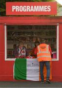 12 April 2019; Programme seller Alan Jinks collecting his allocation of programmes ahead of the SSE Airtricity League Premier Division match between Sligo Rovers and Dundalk at The Showgrounds in Sligo. Photo by Eóin Noonan/Sportsfile