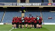 12 April 2019; The Ulster players huddle on the pitch before the Guinness PRO14 Round 20 match between Edinburgh and Ulster at BT Murrayfield in Edinburgh, Scotland. Photo by Ross Parker/Sportsfile.