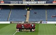 12 April 2019; The Ulster players huddle on the pitch before the Guinness PRO14 Round 20 match between Edinburgh and Ulster at BT Murrayfield in Edinburgh, Scotland. Photo by Ross Parker/Sportsfile