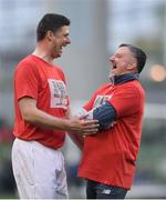 12 April 2019; John Aldridge, right, of Liverpool FC Legends and Niall Quinn of Republic of Ireland XI prior to the Sean Cox Fundraiser match between the Republic of Ireland XI and Liverpool FC Legends at the Aviva Stadium in Dublin. Photo by Sam Barnes/Sportsfile
