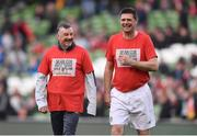 12 April 2019; John Aldridge, left, of Liverpool FC Legends and Niall Quinn of Republic of Ireland XI prior to the Sean Cox Fundraiser match between the Republic of Ireland XI and Liverpool FC Legends at the Aviva Stadium in Dublin. Photo by Sam Barnes/Sportsfile