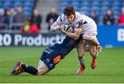 12 April 2019; Jacob Stockdale of Ulster is tackled by Mark Bennett of Edinburgh during the Guinness PRO14 Round 20 match between Edinburgh and Ulster at BT Murrayfield in Edinburgh, Scotland. Photo by Ross Parker/Sportsfile