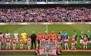 12 April 2019; The two teams and mascots line up prior to the Sean Cox Fundraiser match between the Republic of Ireland XI and Liverpool FC Legends at the Aviva Stadium in Dublin. Photo by Sam Barnes/Sportsfile